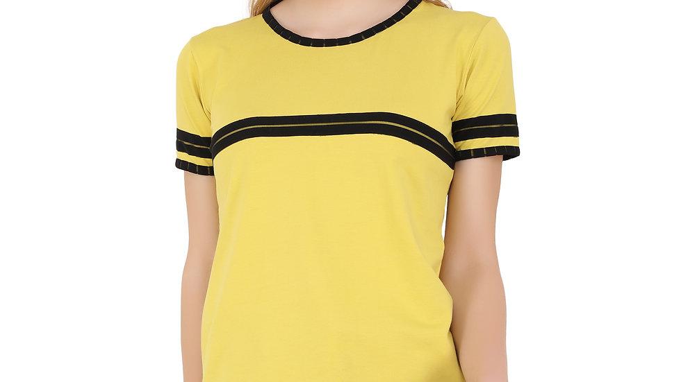 UNFAKENOW  Vertical Stripes Women Round Neck Yellow T-Shirt