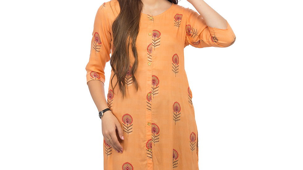 UNFAKENOW  Women Floral Print Cotton Blend Straight Orange Kurta