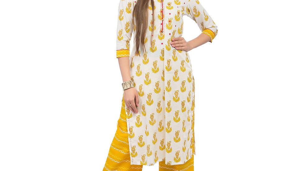 UNFAKENOW  Women Yellow Kurta and Palazzo Set Cotton Blend