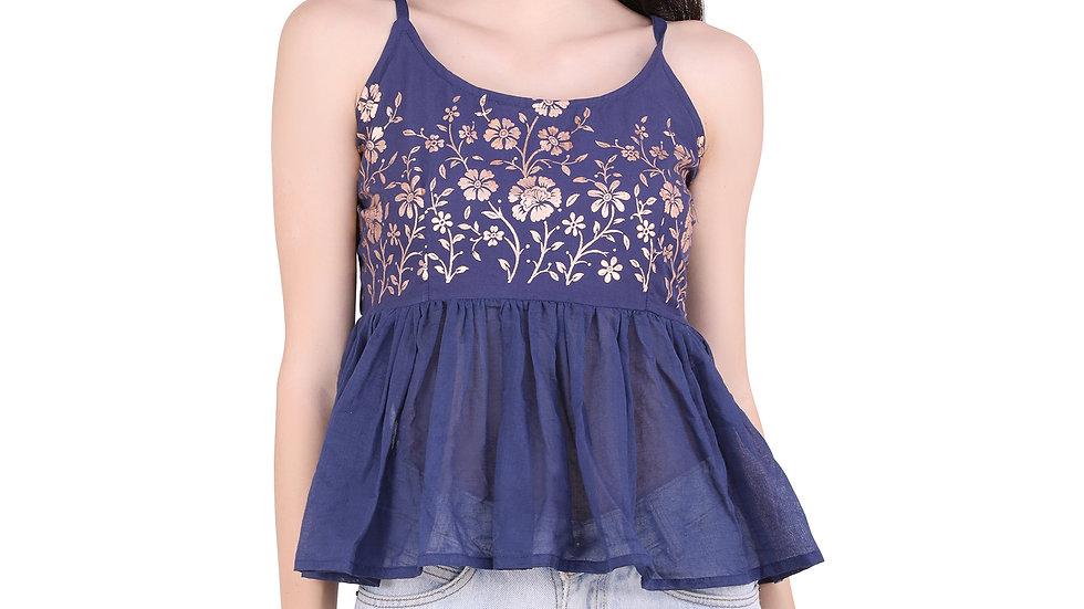 UNFAKENOW  Casual Sleeveless Floral Printed Women Dark Blue Top