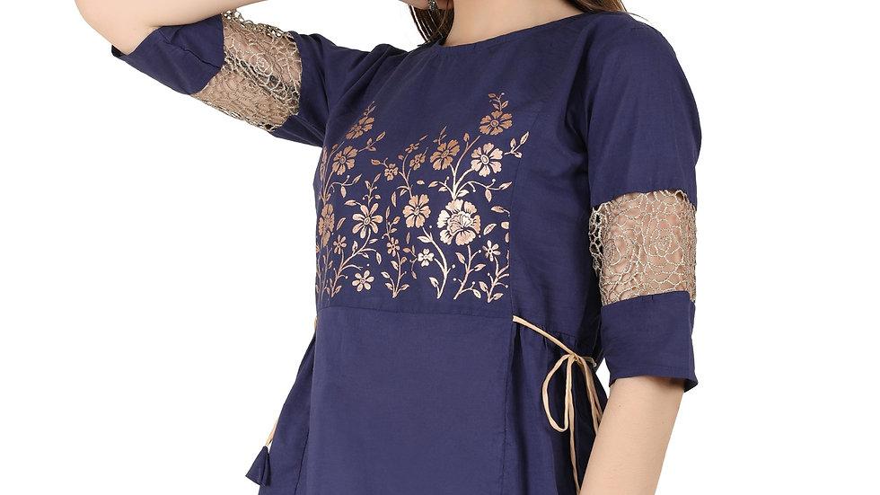 UNFAKENOW  Casual 3/4 Sleeve Floral Print Women Dark Blue Top