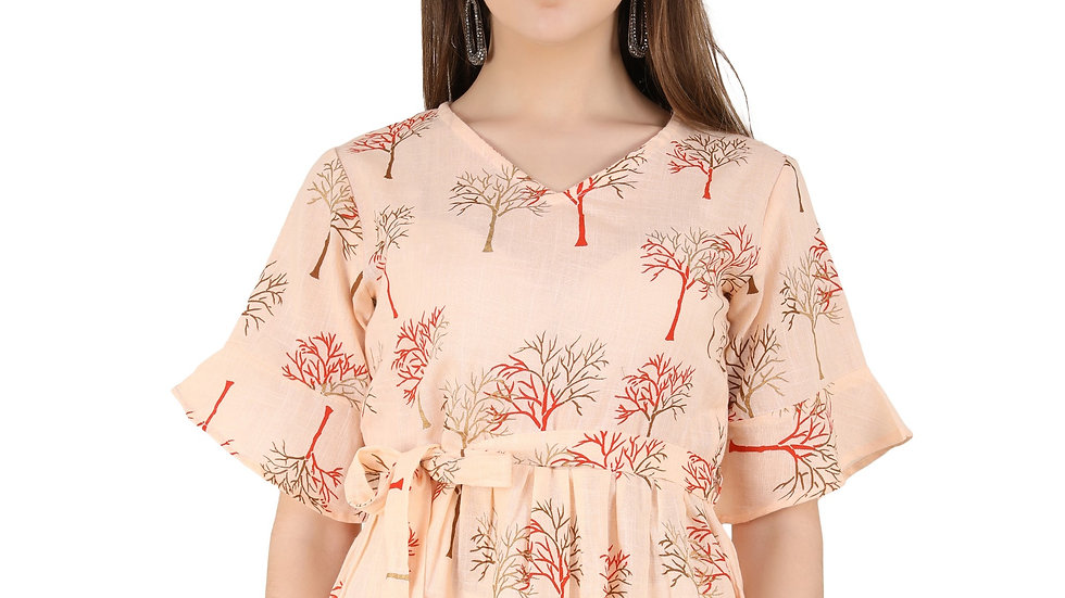 UNFAKENOW  Casual Half Sleeve Floral Print Women Orange Top