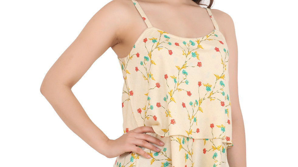 UNFAKENOW  Casual Sleeveless Floral Print Women Yellow Top