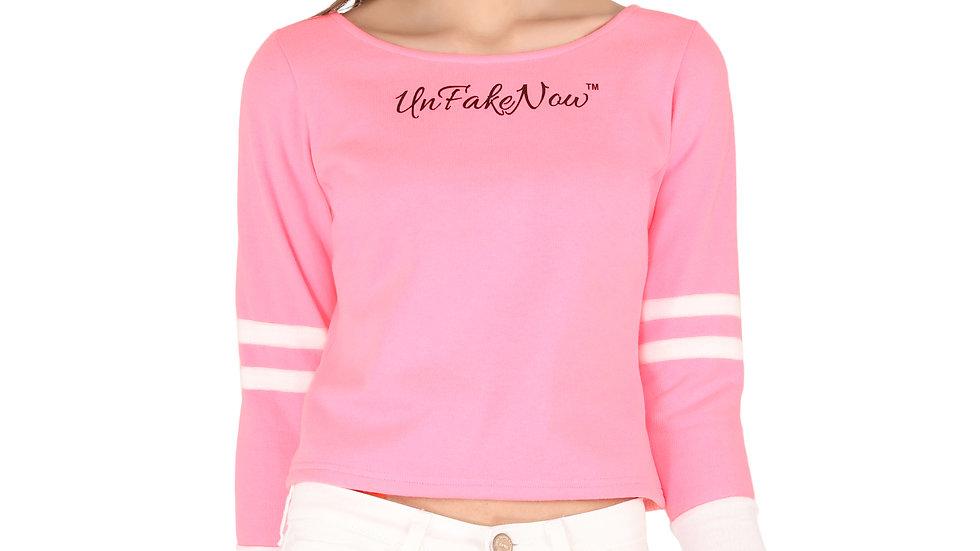UNFAKENOW  Full Sleeve Printed Women Pink Fleece Sweatshirt