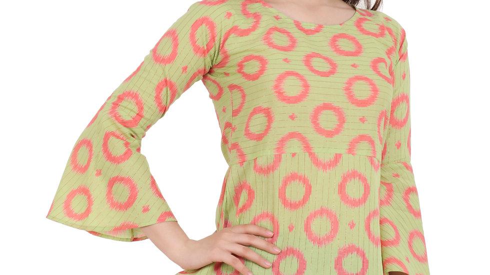 UNFAKENOW  Casual 3/4 Sleeve Geometric Print Women Green Top