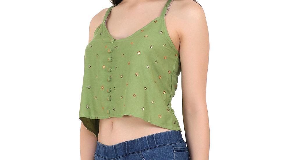 UNFAKENOW  Casual No Sleeve Self Design Women Dark Green Top