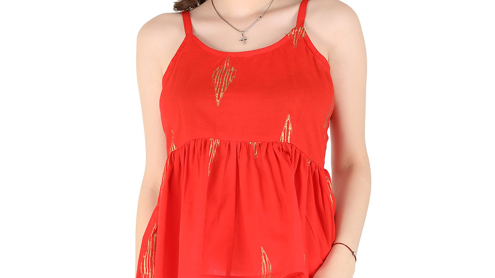 UNFAKENOW Casual No Sleeve Floral Print Women Red Cotton Peplum Top