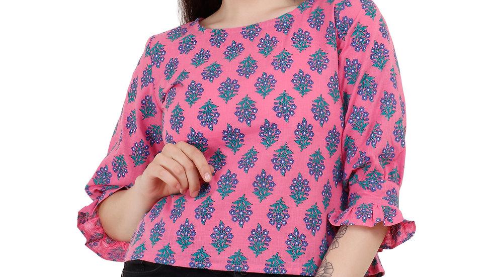 UNFAKENOW  Casual Short Sleeve Floral Print Women Pink Top