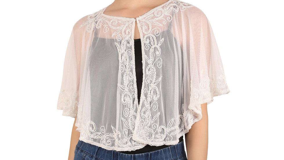 UNFAKENOW  Embellished Women Jacket Style Sleeveless White Net Shrug