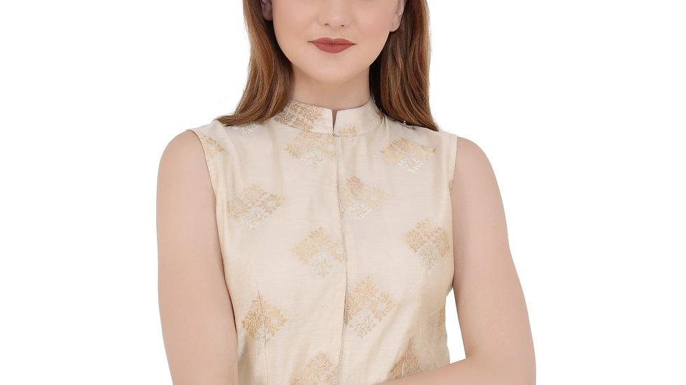 UNFAKENOW  Party Sleeveless Printed Women Beige Top