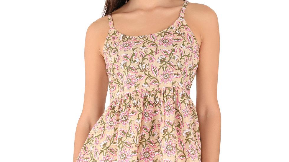 UNFAKENOW  Casual Noodle Strap Floral Print Women Beige Cotton Top