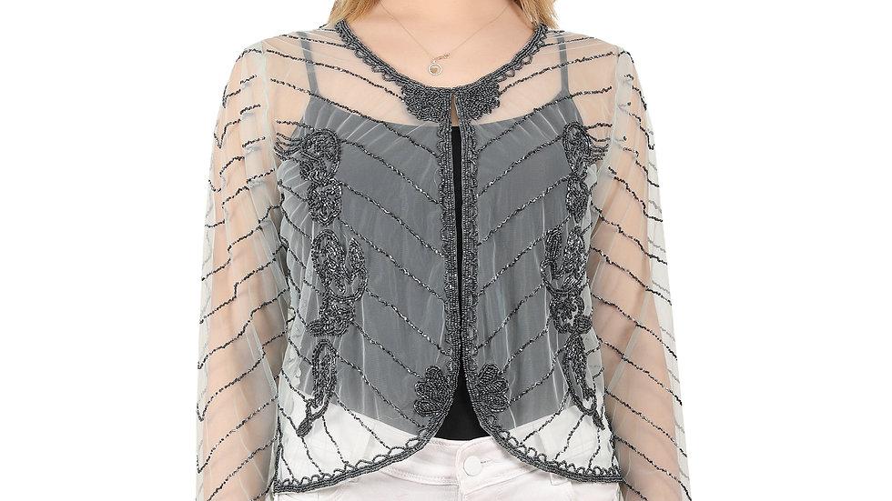 UNFAKENOW Women Bead Embellished Jacket Style Full Sleeve  Turqouise Shrug