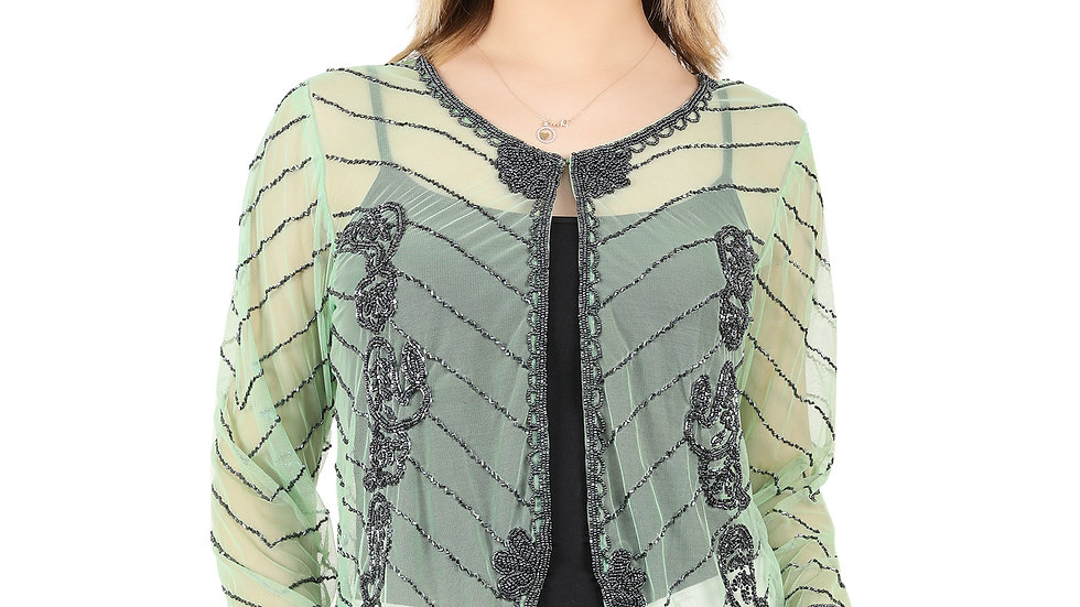 UNFAKENOW Women Bead Embellished Jacket Style Full Sleeve Light Green Shrug