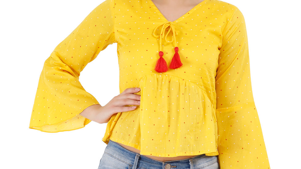UNFAKENOW  Casual Bell Sleeve Printed Women Yellow Top