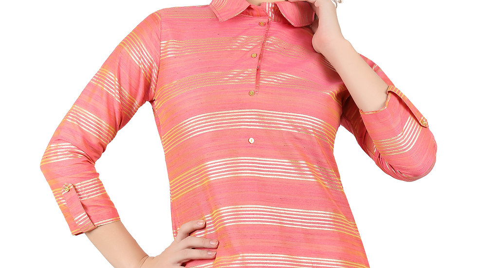 UNFAKENOW Casual Shirt Style Roll-up Sleeve Striped Women Pink Top