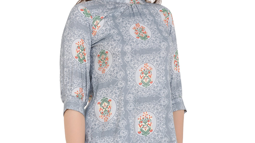 UNFAKENOW  Casual Cuffed Sleeve Floral Print Women Grey Top