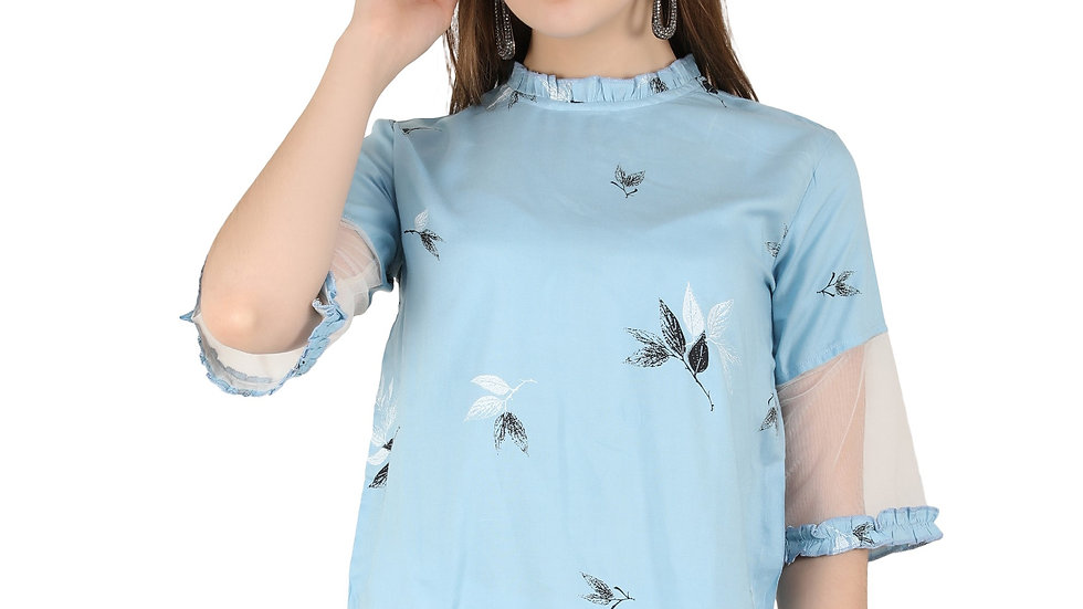 UNFAKENOW  Casual Half Sleeve Floral Print Women Light Blue Top