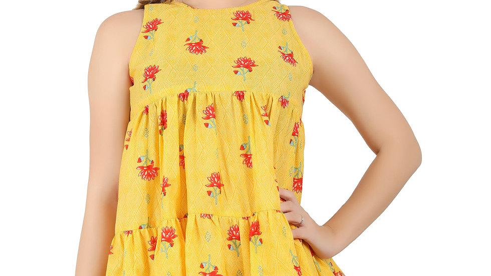 UNFAKENOW Casual No Sleeve Floral Print Women Cotton Blend Peplum Yellow Top