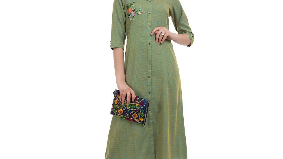UNFAKENOW  Women Embroidered Cotton Blend Straight Dark Green Kurta