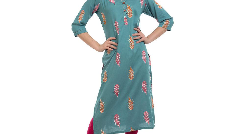 UNFAKENOW  Women Embroidered Cotton Blend Straight Blue Kurta