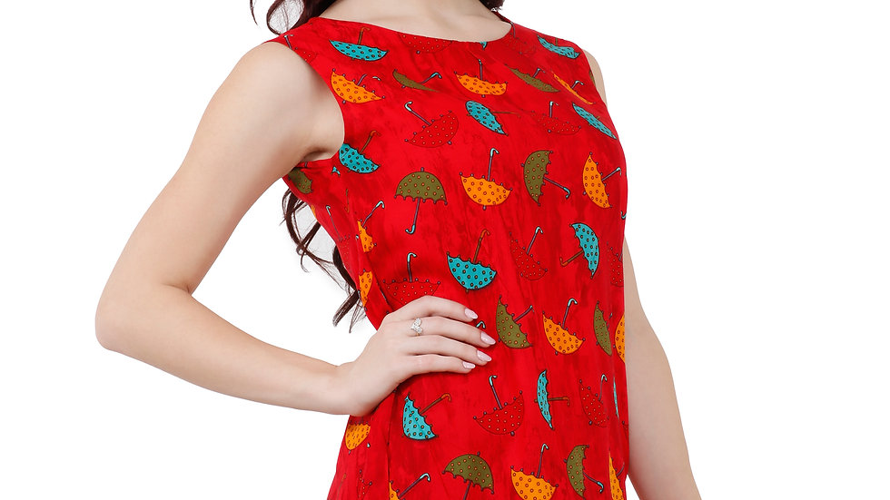 UNFAKENOW  Casual No Sleeve Graphic Print Women Red Top