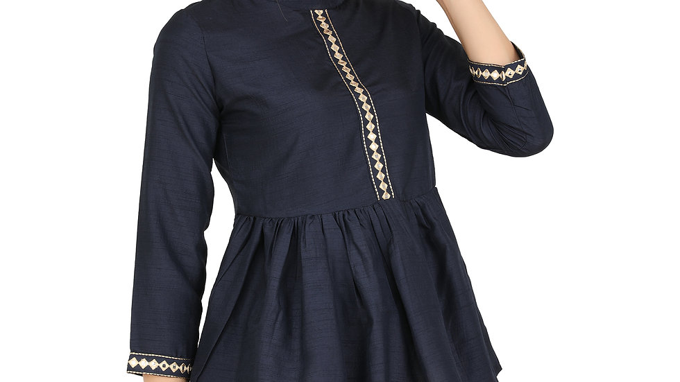 UNFAKENOW  Casual 3/4 Sleeve Solid Women Dark Blue Cotton Top