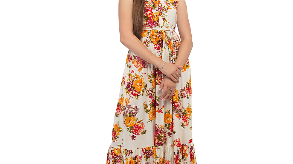 UNFAKENOW  Women Floral Print Cotton Blend Anarkali Multicolor Kurta