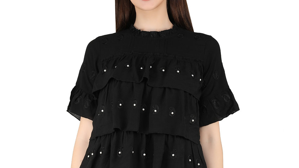 UNFAKENOW  Casual Flared Sleeve Floral Print Women Black Top