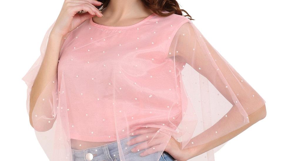 UNFAKENOW  Party Kaftan Sleeve Embellished Women Pink Top