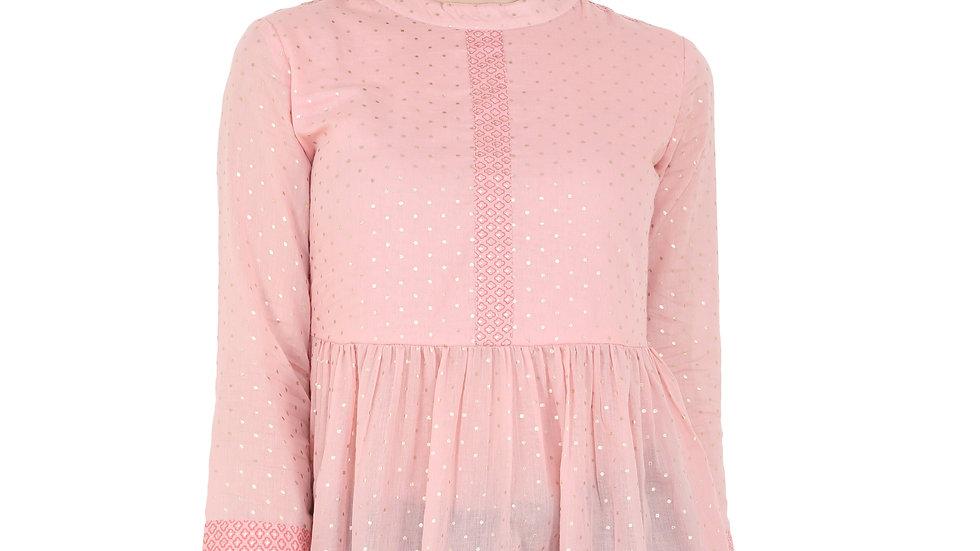 UNFAKENOW  Casual 3/4 Sleeve Polka Foil Print Women Pink Top