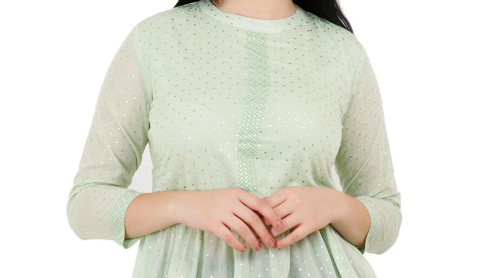 UNFAKENOW  Party Regular Sleeve Polka Foil Printed Women Light Green Top