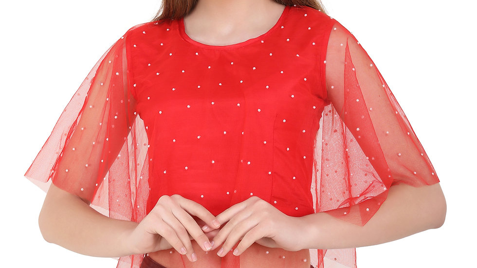 UNFAKENOW  Party Sleeveless Embellished Women Red Top