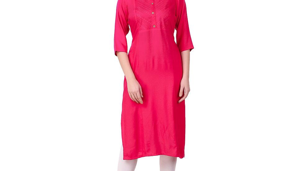 UNFAKENOW  Women Embroidered Cotton Blend Straight Pink Kurta