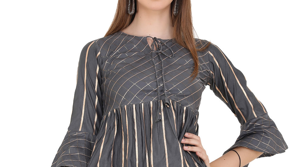 UNFAKENOW  Casual Bell Sleeve Printed Women Grey Top