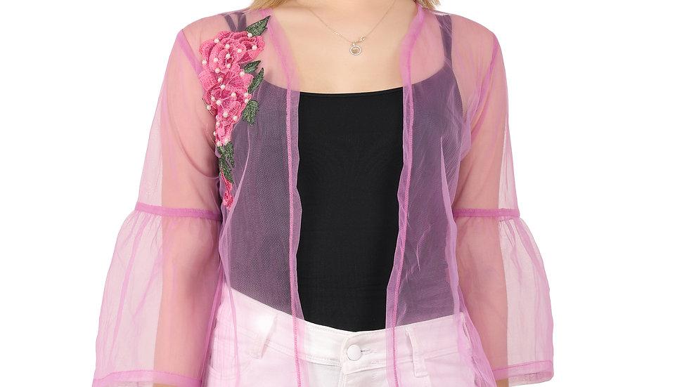 UNFAKENOW Women Kimono Style Embroidered  3/4th Sleeve Purple Shrug