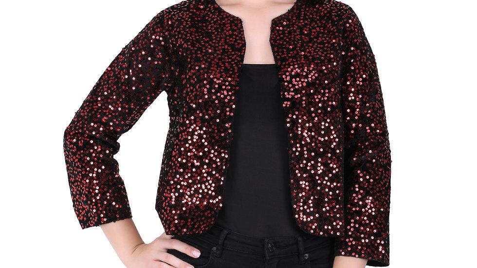 UNFAKENOW  Women Jacket Style 3/4th Sleeve Sequence Embellished Red Shrug