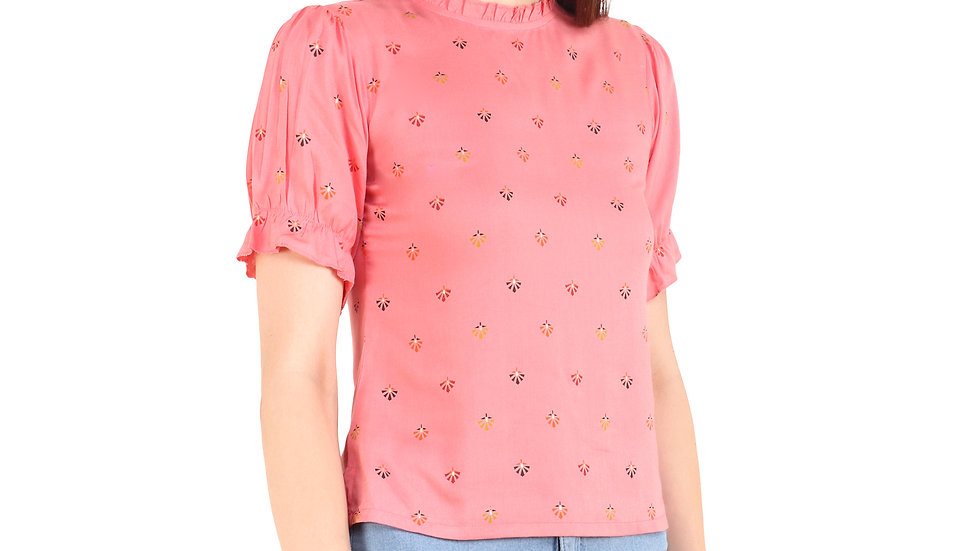 UNFAKENOW  Casual Puff Sleeve Printed Women Pink Top