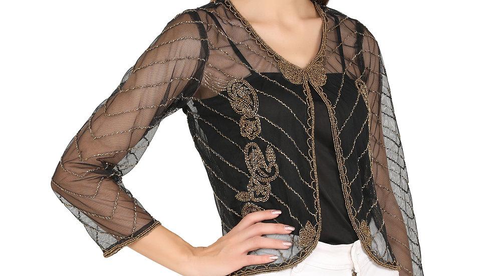 UNFAKENOW  Women Jacket Style Full Sleeve Embellished Net Black Shrug