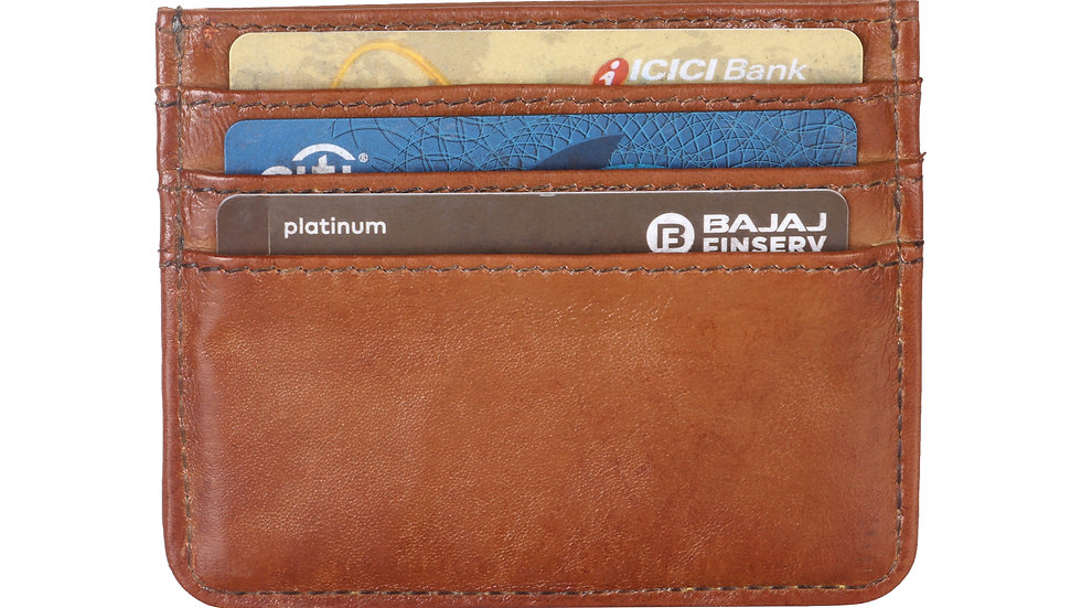 UNFAKENOW  Men Tan Genuine Leather Card Holder  (4 Card Slots)
