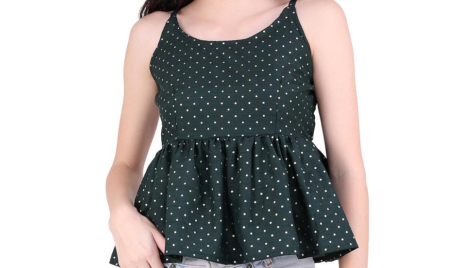 UNFAKENOW  Casual Sleeveless Polka Printed Women Dark Green Top