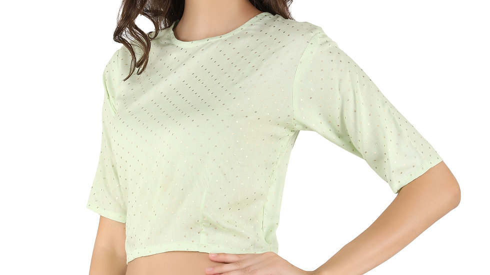 UNFAKENOW  Party Regular Sleeve Polka Print Women Light Green Cotton Crop Top