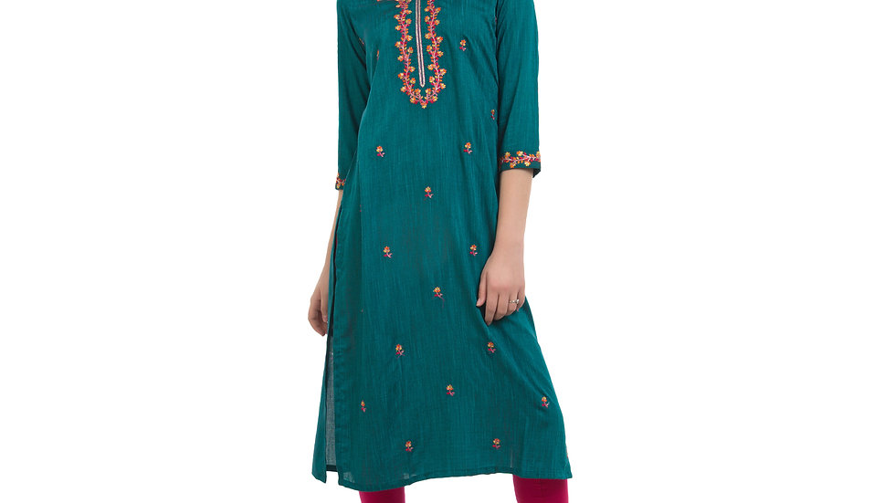 UNFAKENOW  Women Embroidered Cotton Silk Straight Blue Kurta