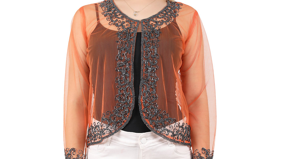 UNFAKENOW Women Jacket Style Embroidered  3/4th Sleeve Orange Shrug