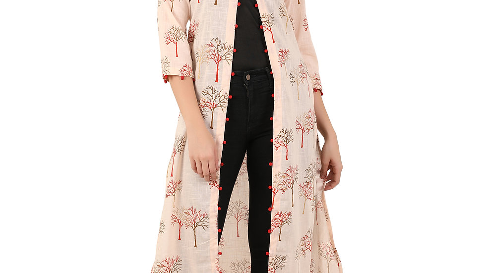 UNFAKENOW  Women Kimono Style 3/4th Sleeve Orange Shrug