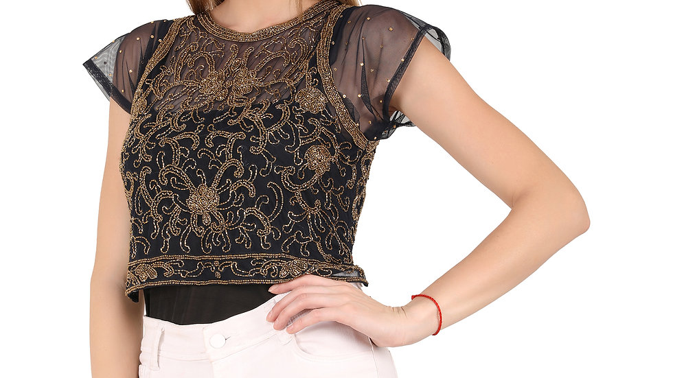 UNFAKENOW  Party Short Sleeve Embellished Women Black Top