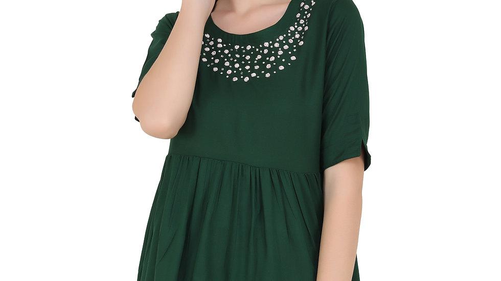 UNFAKENOW  Casual Half Sleeve Embellished Women Dark Green Top