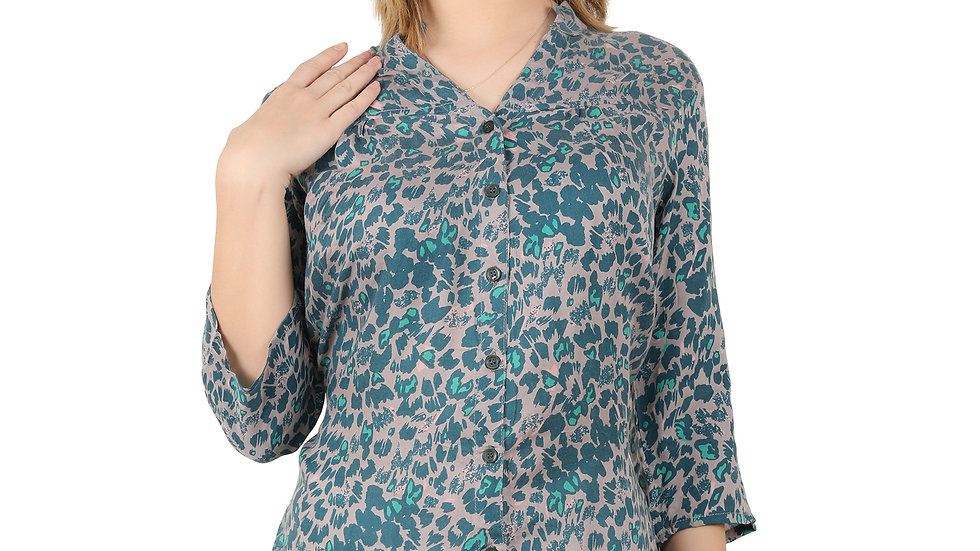 UNFAKENOW Casual 3/4 Sleeve Printed Women Cotton Rayon Shirt Style Blue Top