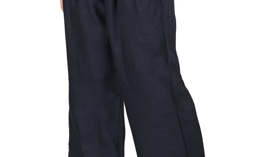 UNFAKENOW  Relaxed Women Solid Dark Blue Cotton Silk Trousers