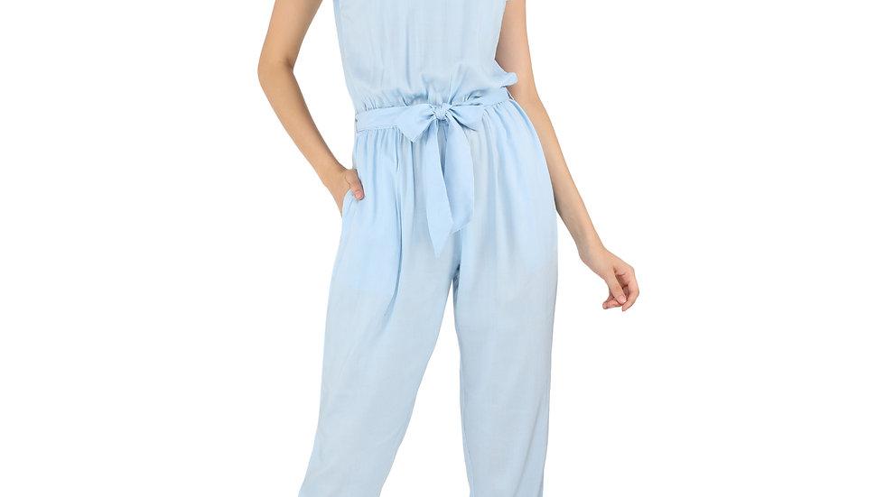 UNFAKENOW  Solid Women Light Blue Rayon Jumpsuit