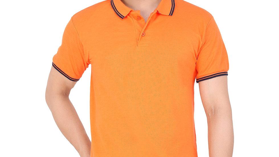 UNFAKENOW  Solid Men Polo Neck Orange T-Shirt